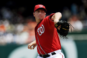 WASHINGTON, DC - JUNE 18: Starting pitcher Jordan Zimmermann #27 of the Washington Nationals throws a pitch during the first inning against the Baltimore Orioles at Nationals Park on June 18, 2011 in Washington, DC. (Photo by Patrick Smith/Getty Images)