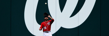 WASHINGTON, DC - JUNE 19: Jayson Werth #28 of the Washington Nationals makes a catch against the Baltimore Orioles in the seventh inning at Nationals Park on June 19, 2011 in Washington, DC. The Baltimore Orioles won, 7-4. (Photo by Patrick Smith/Getty Images)