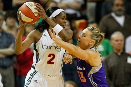 Versatile small forwards Swin Cash and Penny Taylor have done a lot of things well during their careers, but apparently not quite enough to be selected for the WNBA's Top 15 Players of All-Time list. Photo by Kailas Images.