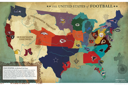 The United States Of Football An NFL Fan Map Of Fan Loyalty - Nfl us map