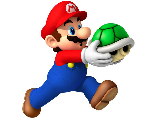 Mario running with green shell