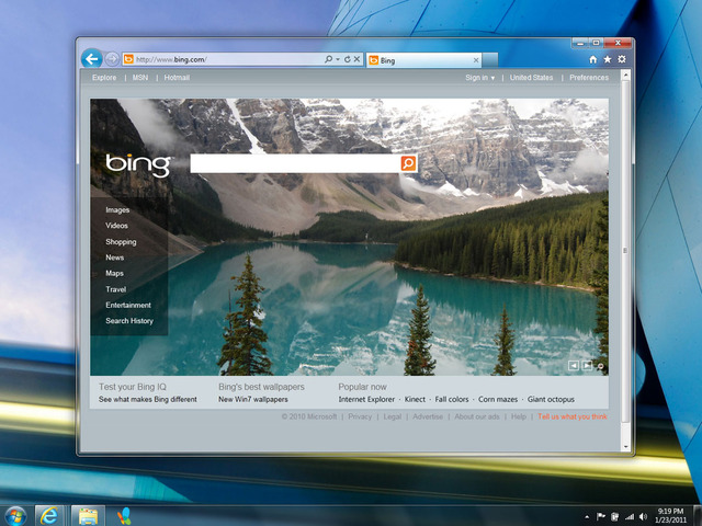 Internet Explorer Bing