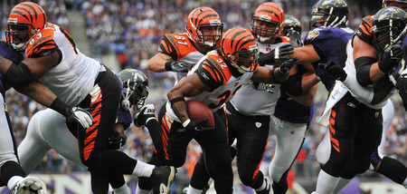 BALTIMORE - NOVEMBER 20:  Cedric Benson #32 of the Cincinnati Bengals runs the ball against the Baltimore Ravens at M&T Bank Stadium on November 20, 2011 in Baltimore, Maryland. The Ravens defeated the Bengals 31-24. (Photo by Larry French/Getty Images)