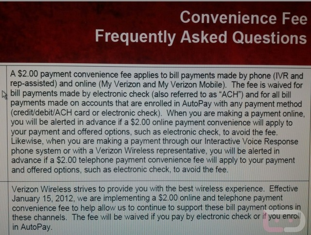 Verizon fee
