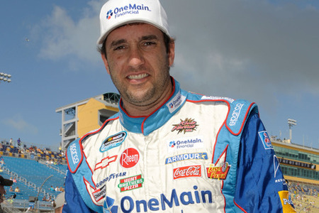 HOMESTEAD, FL - NOVEMBER 19:  Elliott Sadler, driver of the #2 OneMain Financial Chevrolet, stands on the grid during qualifying for the NASCAR Nationwide Series Ford 300 at Homestead-Miami Speedway on November 19, 2011 in Homestead, Florida.  (Photo by John Harrelson/Getty Images for NASCAR)