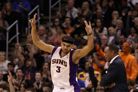 Jared Dudley celebrates a 3 during his outstanding performance tonight.