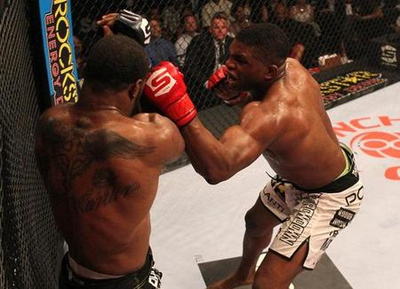 Tyron Woodley (left) survives a British bumrush from Paul Daley last July. Photo via Strikeforce.com.