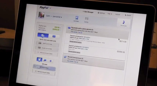 PayPal Digital Wallet Demo Screenshot