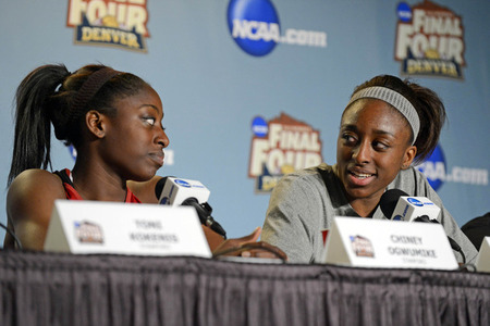 March 31, 2012; Denver, CO, USA; Stanford Cardinal forward Nnemkadi Ogwumike (30) (right) answers a question regarding her sister forward Chiney Ogwumike (13) (left) before the semifinals of the 2012 NCAA women's basketball Final Four at the Pepsi Center. Ron Chenoy-US PRESSWIRE