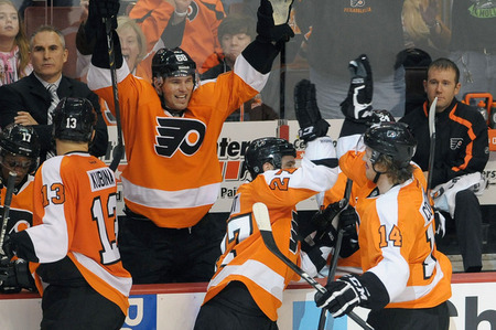 March 31, 2012; Philadelphia, PA USA;  Philadelphia Flyers right wing Jaromir Jagr (68) and center Maxime Talbot (27) celebrate goal by center Sean Couturier (14) during the second period against the Ottawa Senators at the Wells Fargo Center. Mandatory Credit: Eric Hartline-US PRESSWIRE