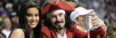 March 21, 2012; Denver, CO, USA; An actor portraying Captain Morgan poses for a photo during the game between the Denver Nuggets and the Detroit Pistons at the Pepsi Center. The Nuggets defeated the Pistons, 116-115. Mandatory Credit: Ron Chenoy-US PRESSWIRE