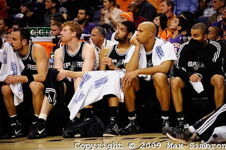 This is the Spurs at the end of one of their two games in Phoenix this year. Not sure which since they left as the loser both times. Lets hope we get a couple more shots like this in the coming week. (Photo by Max Simbron)