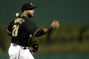 Pedro Alvarez has been a horrible hitter this season, so much that he is not playing tonight.  He sure did perfect the ability to throw a ball through his neck though.