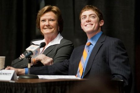 Apr 19, 2012; Knoxville, TN, USA; Tennessee Lady Volunteers head coach Pat Summitt and son Tyler Summitt watch a slideshow during the press conference announcing that she was stepping aside as head basketball coach at Thompson Boling Arena. Randy Sartin-US PRESSWIRE