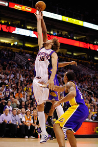 The Suns are going to need productive minutes from Robin Lopez to combat the Lakers size. (Photo by Max Simbron)