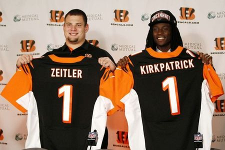Apr 27, 2012; Cincinnati, OH, USA; Cincinnati Bengals first round draft picks Dre Kirkpatrick and Kevin Zeitler hold up their jerseys during the press conference at Paul Brown Stadium. Mandatory Credit: Frank Victores-US PRESSWIRE
