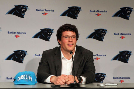 Apr 27, 2012; Charlotte, NC, USA  Carolina Panthers first round draft pick Luke Kuechly talks with the media during a press conference at Bank of America Stadium. Mandatory Credit: Jeremy Brevard-US PRESSWIRE