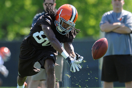 May 11, 2012; Berea, OH, USA: Cleveland Browns did receiver Travis Benjamin (8) works out during rookie camp at the Cleveland Browns training facility.  Mandatory Credit: Eric P. Mull-USPRESSWIRE