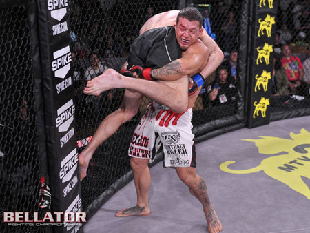 Waachiim Spiritwolf prepares to slam Marius Zaromskis to the ground in the first round of their Bellator 68 fight this past May. Photo via Bellator