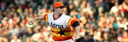 June 22, 2012; Houston, TX, USA; Houston Astros starting pitcher Lucas Harrell (64) pitches in the second inning against the Cleveland Indians at Minute Maid Park. Mandatory Credit: Troy Taormina-US PRESSWIRE