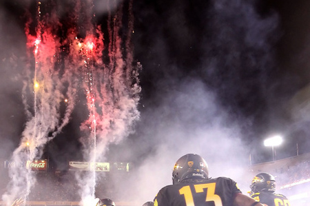 """Another gameday change: Arizona State fans may no longer """"crowdsource their own fireworks displays.""""  (Photo by Christian Petersen/Getty Images)"""