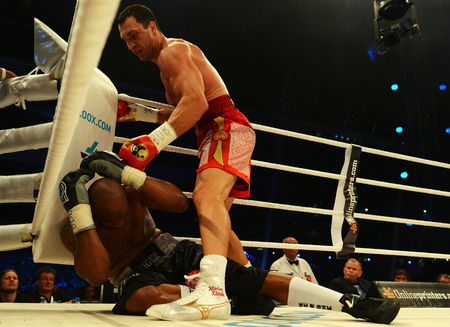 Wladimir Klitschko easily won again today in Switzerland, stopping Tony Thompson in the sixth round. (Photo by Lars Baron/Bongarts/Getty Images)