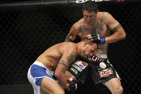 Jun 22, 2012; Atlantic City, NJ, USA; Chris Camozzi (right) fights Nick Catone in a middleweight bout during UFC on FX at Revel Resort and Casino.  Chris Camozzi won the fight by technical knockout in in the third round.  Mandatory Credit: Joe Camporeale-US PRESSWIRE