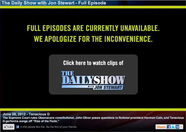 Daily Show blocked online
