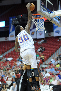 July 18, 2012; Las Vegas, NV, USA; Phoenix Suns forward Charles Garcia (30) dunks during the second half of the game against the New Orleans Hornets at the Thomas & Mack Center. Mandatory Credit: Jayne Kamin-Oncea-US PRESSWIRE