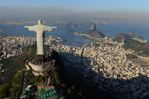 An arial view of the 'Christ the Redeemer' statue on top of Corcovado mountain in Rio de Janeiro, Brazil, host of the 2016 Olympics.  (Photo by Michael Regan/Getty Images)