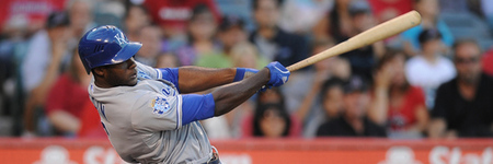 Jul 24, 2012; Anaheim, CA, USA; Kansas City Royals center fielder Lorenzo Cain (6) hits a home run against the Los Angeles Angels during the first inning at Angel Stadium of Anaheim. Mandatory Credit: Kelvin Kuo-US PRESSWIRE