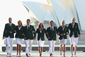 She won't be walking arm in arm with her fellow Olympians for the Opening Ceremonies, because Lauren Jackson has a bigger duty - to carry the Australian flag. (Photo by Cameron Spencer/Getty Images)