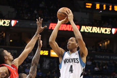 Apr 12, 2012; Minneapolis, MN, USA: Minnesota Timberwolves forward Wesley Johnson (4) goes up for a shot in the second half against the Los Angeles Clippers at Target Center. The Clippers won 95-82. Mandatory Credit: Jesse Johnson-US PRESSWIRE