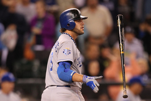 SEATTLE, WA - JULY 27:  Mike Moustakas #8 of the Kansas City Royals strikes out for the final out in a 6-1 loss to the Seattle Mariners at Safeco Field on July 27, 2012 in Seattle, Washington.  (Photo by Otto Greule Jr/Getty Images)