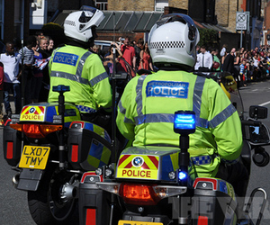 London 2012 Olympics police bike stock