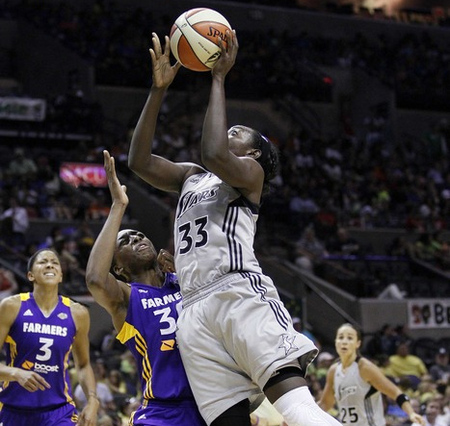 While Los Angeles Sparks forward Candace Parker is probably the favorite for the 2012 WNBA MVP award, San Antonio Silver Stars forward Sophia Young has as good a case for the award as any challenger. Photo by Soobum Im-US PRESSWIRE.
