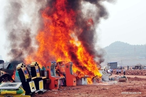 gambling machine fire china