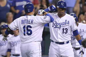 KANSAS CITY, MO - AUGUST 17:  Billy Butler #16 of the Kansas City Royals celebrates his home run with Salvador Perez #13 during a game against the Chicago White Sox in the sixth inning at Kauffman Stadium on August 17, 2012 in Kansas City, Missouri. (Photo by Ed Zurga/Getty Images)