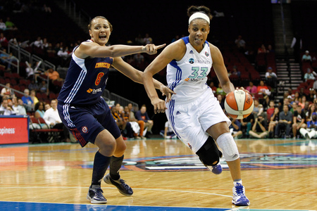 The New York Liberty welcomed back Plenette Pierson after the WNBA's break for the 2012 London Olympics.  Photo by Debby Wong-US PRESSWIRE.