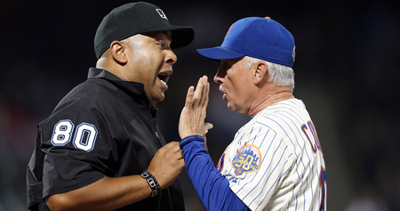 NEW YORK, NY - AUGUST 20:  Manager Terry Collins #10 of the New York Mets argues a call with umpire Adrian Johnson #80 in the eighth inning against the Colorado Rockies on August 20, 2012 at Citi Field in the Flushing neighborhood of the Queens borough of New York City.  (Photo by Elsa/Getty Images)