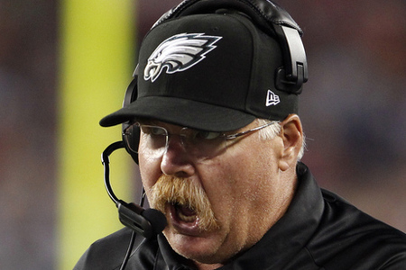 Aug 20, 2012; Foxborough, MA, USA; Philadelphia Eagles head coach Andy Reid watches from the sideline as they take on the New England Patriots during the second quarter of the preseason game at Gillette Stadium. Mandatory Credit: David Butler II-US PRESSWIRE