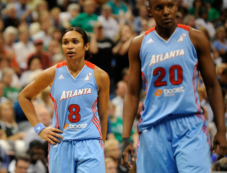 MINNEAPOLIS, MN - OCTOBER 5: Iziane Castro Marques (left) will try to bring some of that scoring punch she gave the Atlanta Dream in the 2011 WNBA playoffs to the Washington Mystics. Photo by Hannah Foslien/Getty Images.
