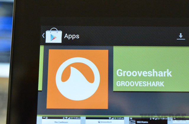 Grooveshark app in Google Play store