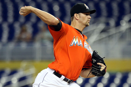 MIAMI, FL - SEPTEMBER 06:  Pitcher Josh Johnson #55 of the Florida Marlins throws against the Milwaukee Brewers at Marlins Park on September 6, 2012 in Miami, Florida.  (Photo by Marc Serota/Getty Images)