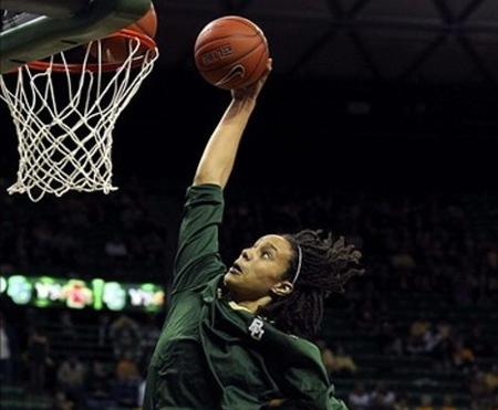 Mar 03, 2012; Waco, TX, USA; Baylor Bears center Brittney Griner (42) dunks before the game against the Iowa State Cyclones at the Ferrell Center. Griner had a career high 41 points.  Baylor won 77-53. Photo by Kevin Jairaj-US PRESSWIRE.