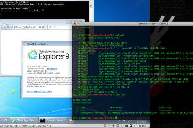 Internet Explorer zero-day vulnerability (Metasploit)