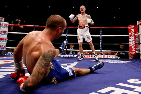 Ricky Burns dropped Kevin Mitchell two times and stopped him in the fourth round today in Glasgow. (Photo by Scott Heavey/Getty Images)