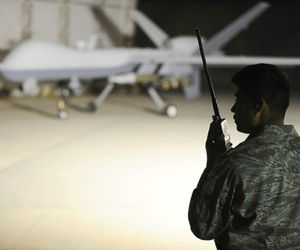 Drone and solider (Credit: Airman 1st Class Jason Epley/USAF)