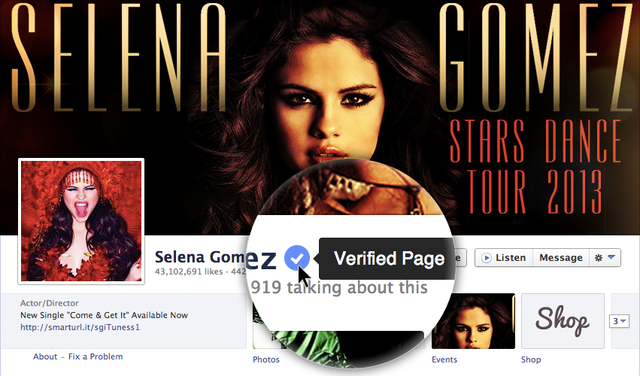 Verified Pages and Profiles in Facebook