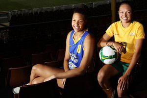 SYDNEY AUSTRALIA - JANUARY 19: Australian basketball player Liz Cambage (center) and soccer player Kyah Simon pose at a media call during the Support Women in Sport launch at the Sydney Cricket Ground on January 19 2011 in Sydney Australia. Cambage figures to be a top WNBA draft pick. (Photo by Brendon Thorne/Getty Images)